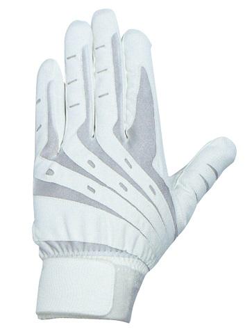 バッティンググラブ合皮両手用ホワイト gbgw-2